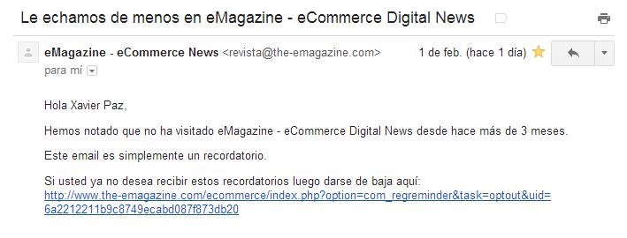Email de reactivación de eMagazine